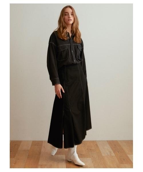 SNIDEL(スナイデル)の「ミリタリーフレアスカート(スカート)」|ブラック