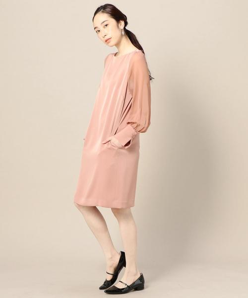 BY DRESS サテンシフォン ロングスリーブドレス ◆