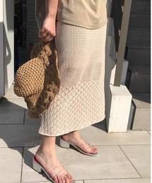 Kastane(カスタネ)の柄編み切り替えニットスカート(スカート)