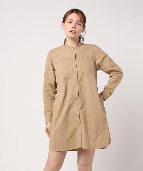 高密度平織り ノーカラーシャツOP(CR)