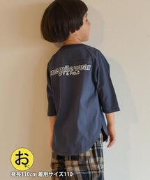 【coen キッズ/ジュニア】1M[ile]ラグランフットボール7分袖Tシャツ(フットボールT/ラグランスリーブT/ロゴT/バックプリントT)