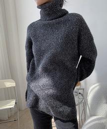 【chuclla】【2020/AW】Side slit turtleneck knit chw1395ブラック