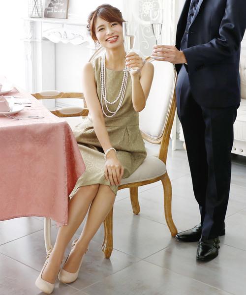 [PourVous] 結婚式ワンピースドレスジャガードスカートノースリーブ&ミニ丈大きいサイズフォーマル