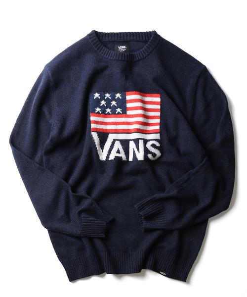 VANS/ヴァンズ AMERICAN FLAG JACQUARD CREW NECK KNIT/アメリカンフラッグ ジャカード クルーネックニット