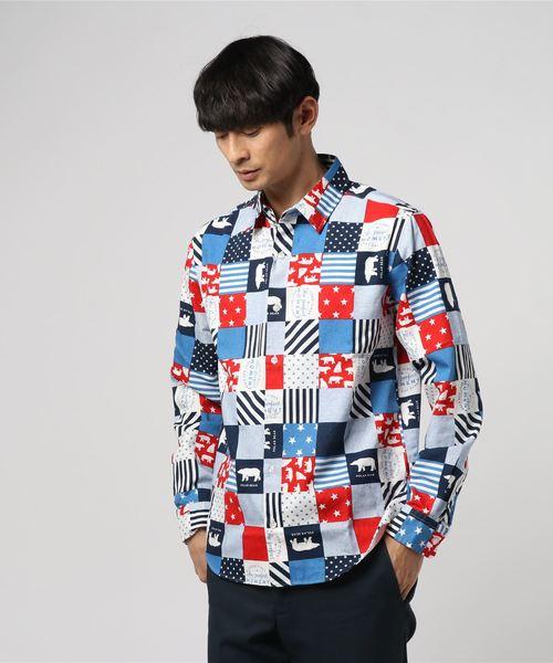 【garsonwave】日本製総柄プリントレギュラー長袖シャツ