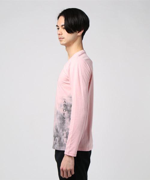 セマンティックデザイン/semantic design グラデーショングラフィック Vネック長袖プリントTシャツ