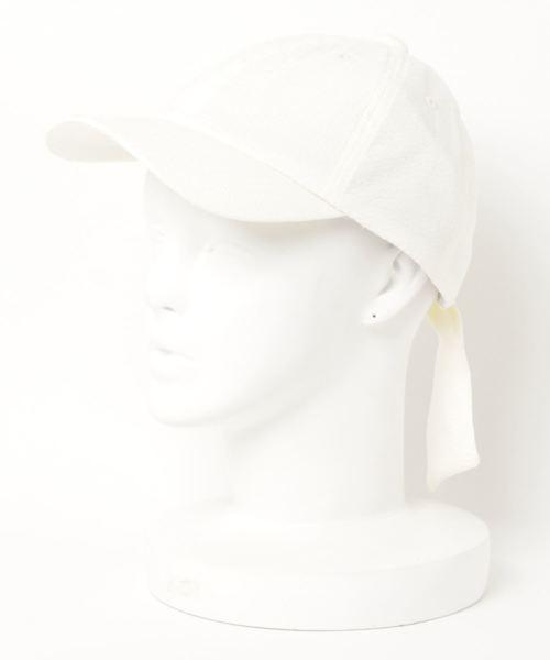 □ ST:シアサッカー リボンキャップ Seersucker ribbon CA