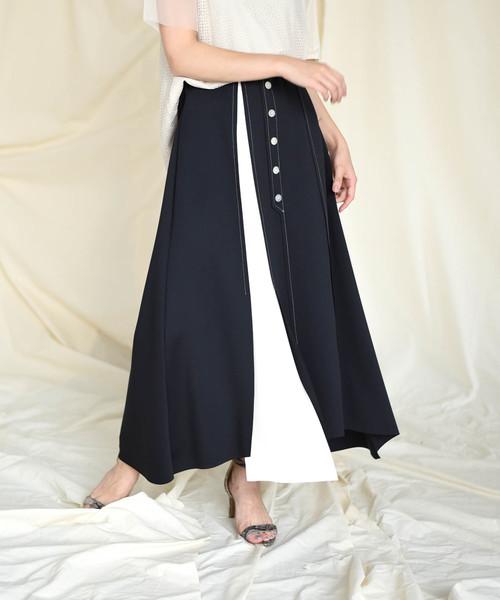 【Eimee Law】前ボタンボンディング配色スカート