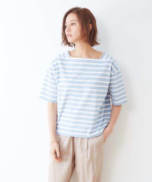 collex(コレックス)の「ボーダープルオーバー(Tシャツ/カットソー)」 サックスブルー