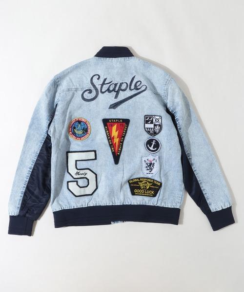 【STAPLE】オリジナルロゴ刺繍&ワッペン デニムジャケット