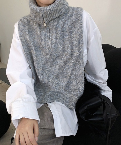 【chuclla】【2020/AW】Zip high-necked knit vest chw1396