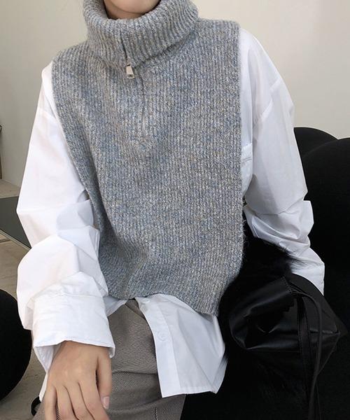【chuclla】Zip high-necked knit vest chw1396