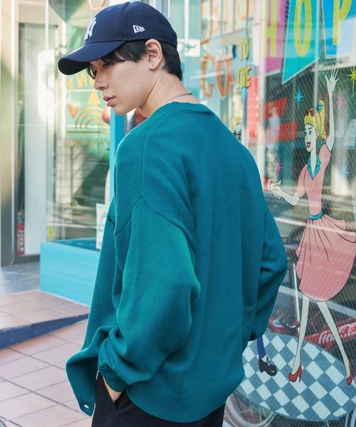 Mark Gonzales/マークゴンザレス MONO-MART別注 ロゴ刺繍 オーバーサイズ ボリュームニットカーディガン