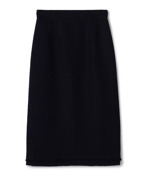 ESTNATION(エストネーション)の「ESTNATION / ツイードフリンジタイトスカート(スカート)」|ネイビー