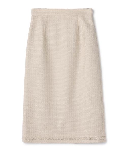 ESTNATION(エストネーション)の「ESTNATION / ツイードフリンジタイトスカート(スカート)」|アイボリー