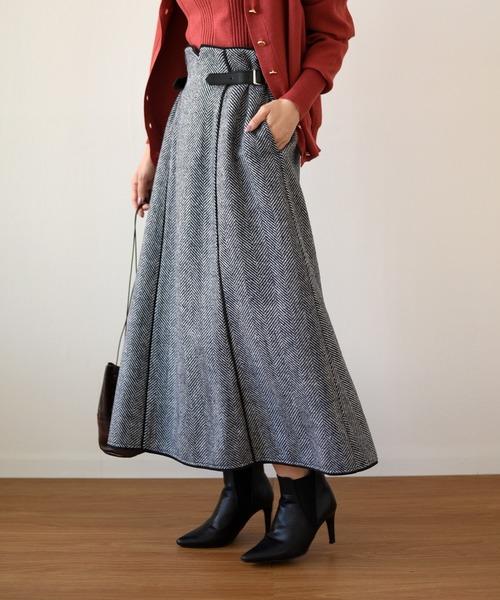 ハイウエストベルトツイードロングスカート
