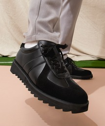 シャークソールジャーマントレーナーシューズ/シンセティックレザー EMMA CLOTHESブラック×ブラック