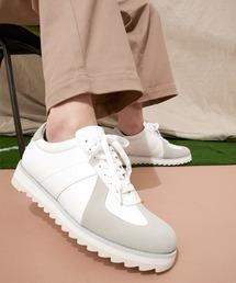 シャークソールジャーマントレーナーシューズ/シンセティックレザー EMMA CLOTHESホワイト×ライトグレー