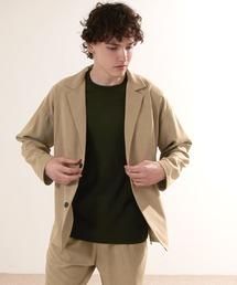 【セットアップ】オーバーサイズ ルーズ2Bテーラードジャケット&タックテーパードイージーパンツ EMMA CLOTHES 2021S/Sベージュ