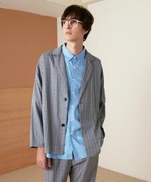 【セットアップ】オーバーサイズ ルーズ2Bテーラードジャケット&タックテーパードイージーパンツ EMMA CLOTHES 2021S/Sグレー系その他