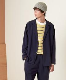 【セットアップ】オーバーサイズ ルーズ2Bテーラードジャケット&タックテーパードイージーパンツ EMMA CLOTHES 2021S/Sネイビー