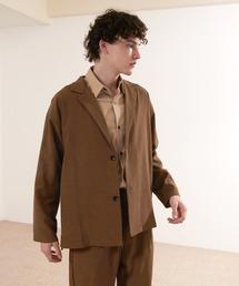 【セットアップ】オーバーサイズ ルーズ2Bテーラードジャケット&タックテーパードイージーパンツ EMMA CLOTHES 2021S/Sブラウン