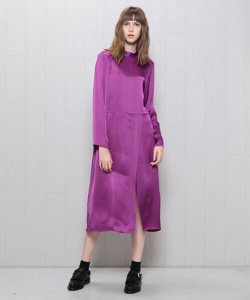 <H>SATIN DRESS/ワンピース