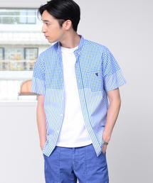 先染めギンガムチェック×ストライプコンビボタンダウンシャツ半袖