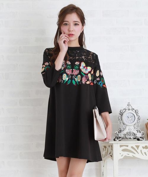 8693c5bf1a77e Lace Ladies(レースレディース)の蝶々&花刺繍Aラインワンピース・ドレス