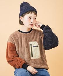 CUBE SUGAR(キューブシュガー)のソフトボア 胸ポケット付 クルーネック(Tシャツ/カットソー)