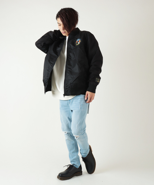 【STAPLE】オリジナルロゴワッペン MA1 ボンバージャケット