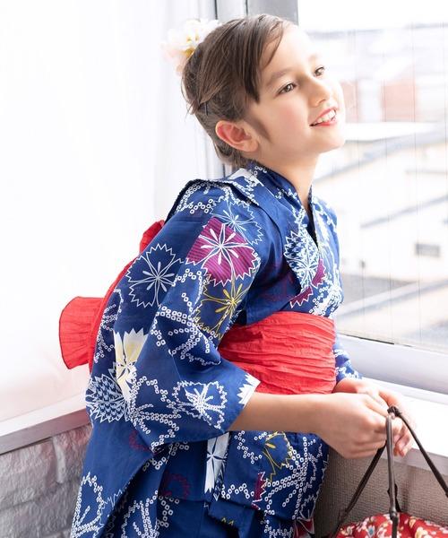 浴衣セット ジュニア 染料 3点セット(浴衣、作り帯、下駄)
