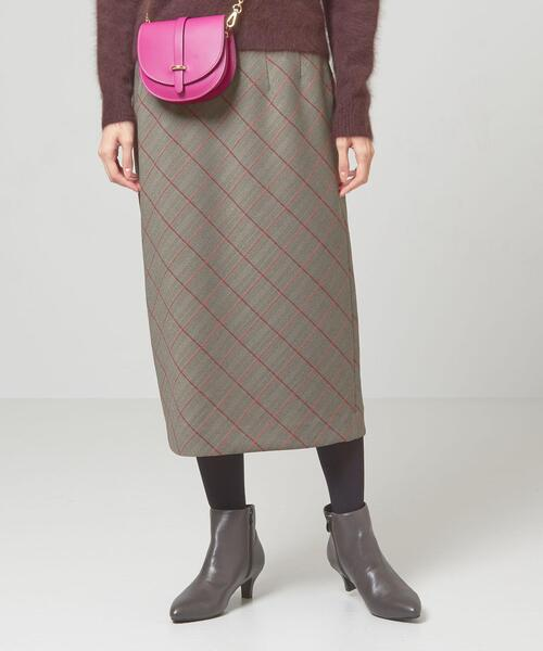 <closet story>□biasチェック ミドル Iラインスカート -手洗い可能-