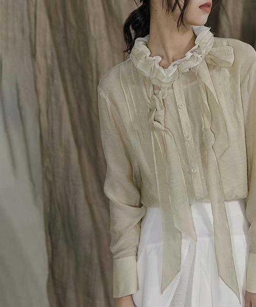 【MURMURMI】Frill leaf collar cotton shirt chw21a008