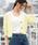 ViS(ビス)の「【ドラマ着用】ワッフル編みカーディガン(カーディガン)」|イエロー