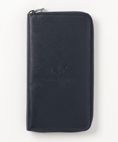 【A|Xアルマーニ エクスチェンジ】A|Xエンボスロゴ ラウンドジップ長財布