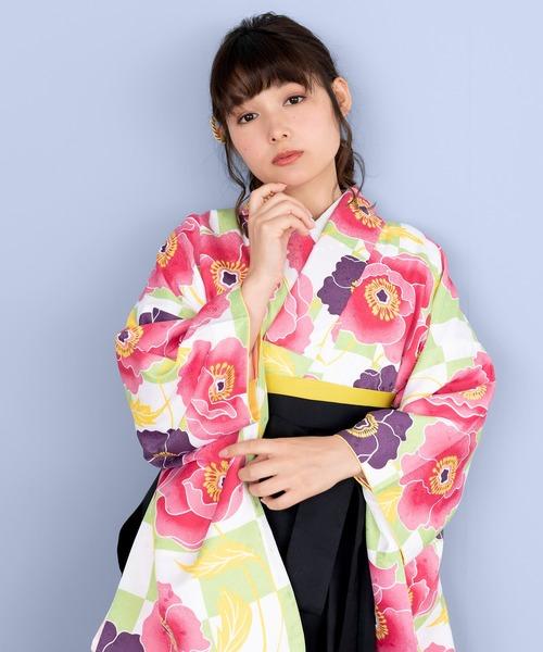 袴セット CCM 二尺袖着物 無地袴 4点セット(着物、袴、袴下帯、襦袢)