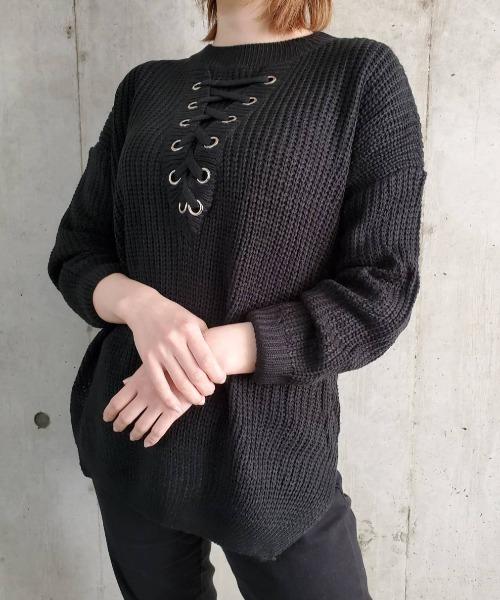 KONVINI(コンビニ)の「【IM 】7G レースアップニット / 1805(ニット/セーター)」 ブラック