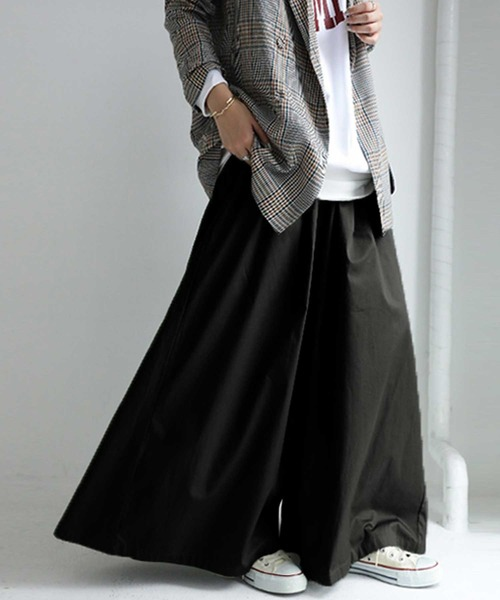 antiqua(アンティカ)の「綿ワイドパンツ(パンツ)」|ブラック