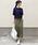 AZUL ENCANTO(アズールエンカント)の「【洗濯機で洗える】【消臭効果】パッチポケットIラインスカート(スカート)」|カーキ
