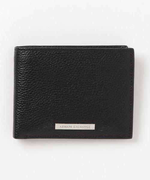 【A|Xアルマーニ エクスチェンジ】ロゴプレート 二つ折りレザー財布