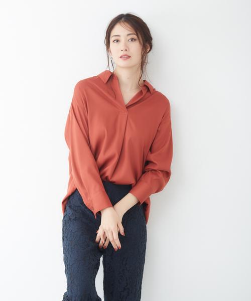 Rouge vif(ルージュヴィフ)の「ランダムタックシャツ(シャツ/ブラウス)」|オレンジ系その他
