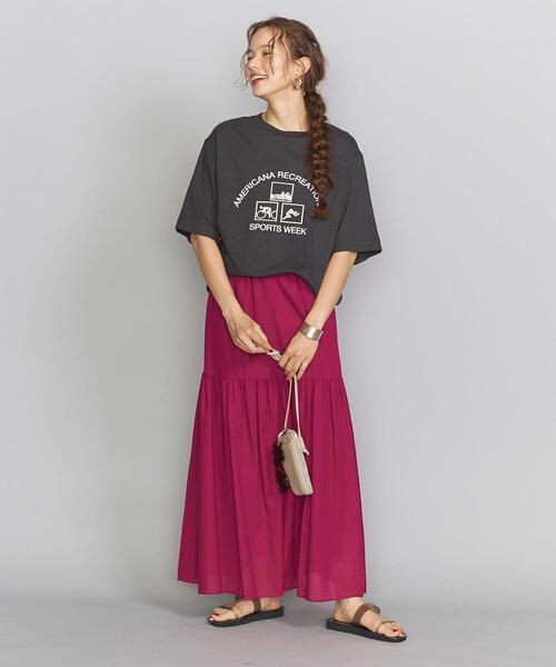 AMERICANA(アメリカーナ)の「【別注】<Americana(アメリカーナ)>プリントTシャツ о(Tシャツ/カットソー)」|ダークグレー
