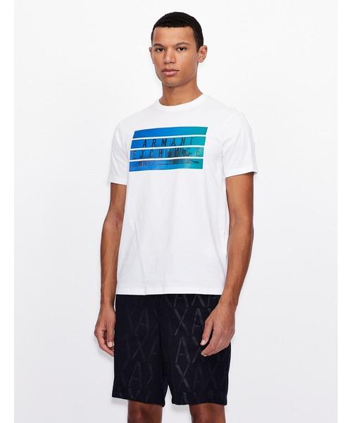 【A|Xアルマーニ エクスチェンジ】ホログラムデザイン(ロゴ&CITY VIEW)半袖クルーネックTシャツ/REGULAR