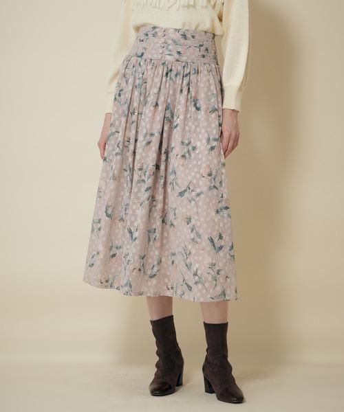 ドビービンテージフラワータックギャザースカート