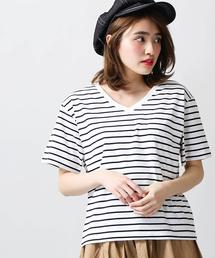 WEGO(ウィゴー)のWEGO/シルクコットンVネックカットソー(Tシャツ/カットソー)