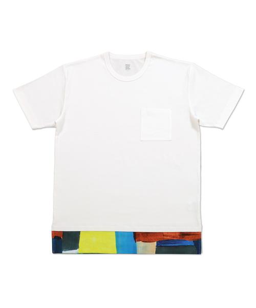 フェイクレイヤードショートスリーブTシャツ/スクウェア
