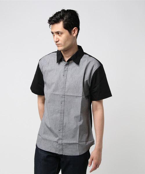 フライフロントデザイン半袖シャツ(IR)