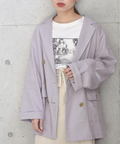 55fd40b788e8a w closet(ダブルクローゼット)の麻レーヨンテーラードジャケット(ダウンジャケット コート