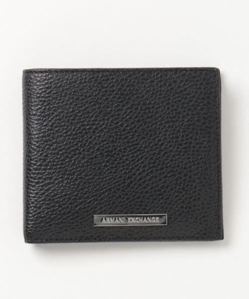 【A|Xアルマーニ エクスチェンジ】ロゴプレート 二つ折りレザー財布(コインケース付き)